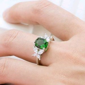 women 925 sterling silver oval cut emerald ring